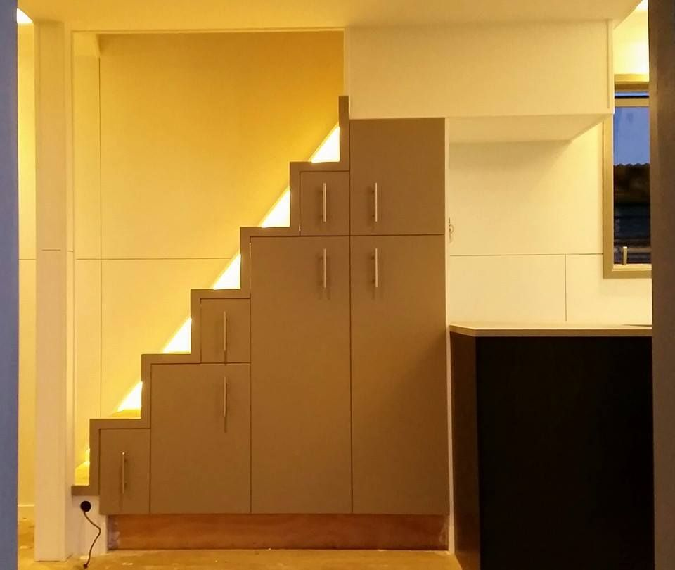 modern stairs with storage... peek-a-boo windows behind? ~ nz tiny ...