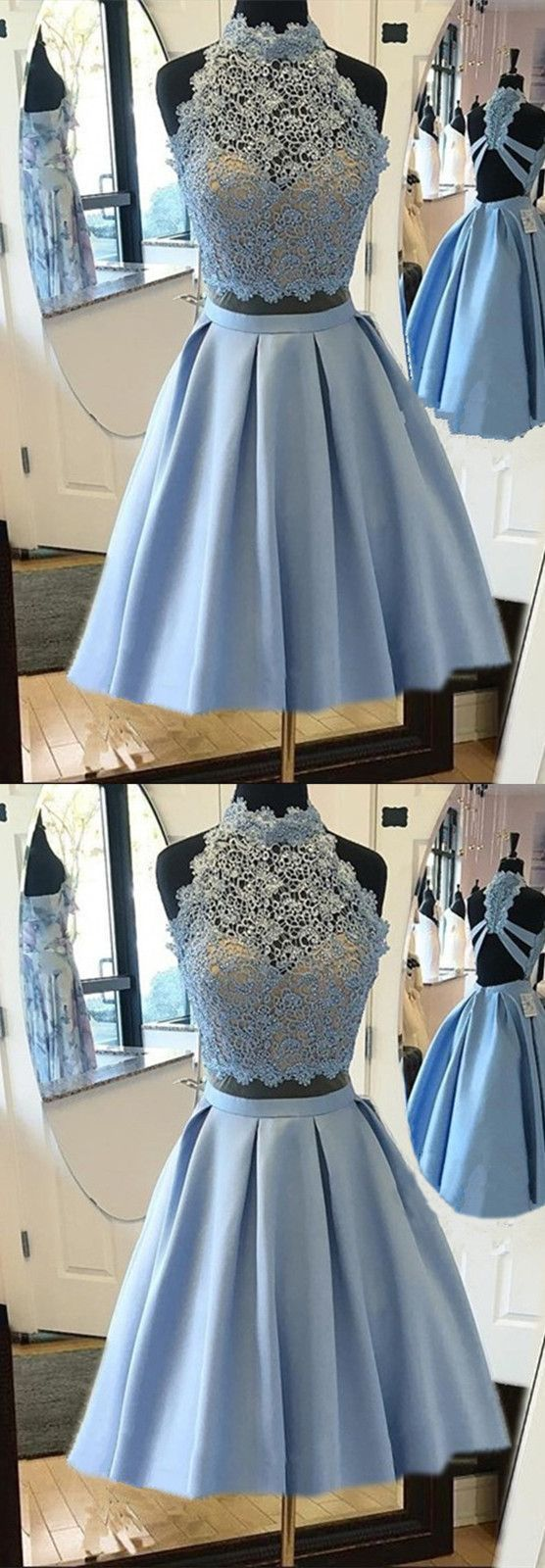 Two piece blue lace short homecoming dress dresses in