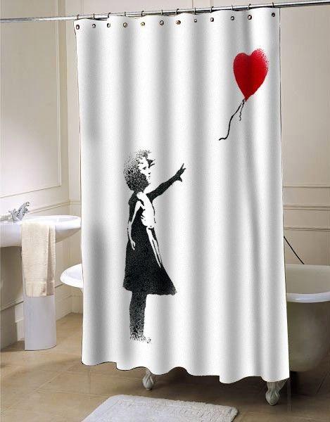 Girl Banksy Shower Curtain