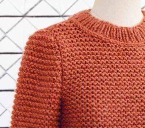 Patron gratuit pour tricoter facilement un pull au point mousse Patron gratuit pour tricoter facilement un pull au point mousse pulls tout doux à tricoter toute la...
