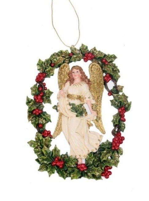 Ange dans couronne Rouge - Religieux - Déco noël 2019 - Décoration noël 2019  #marchédenoel