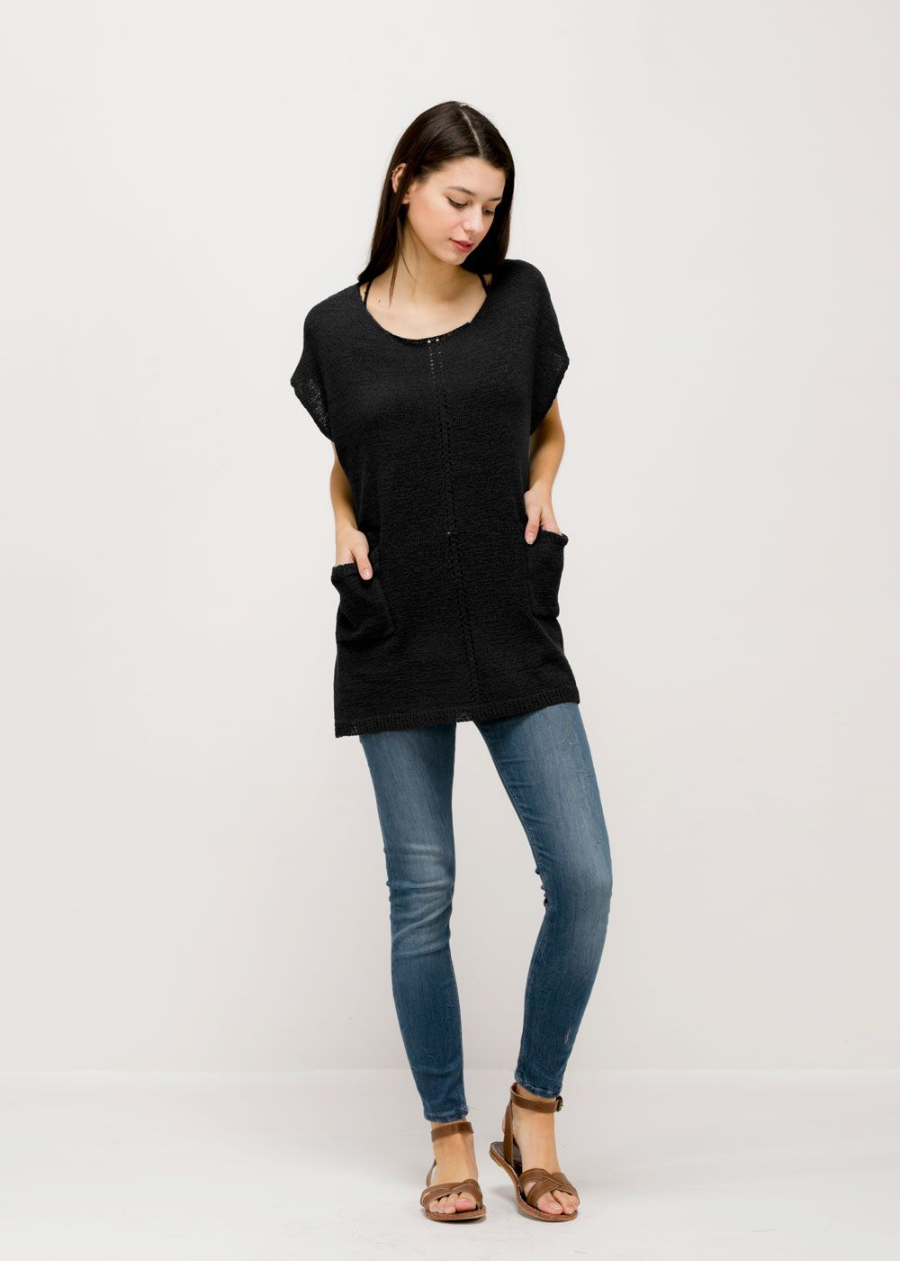 Sheer pocket poncho sm black contents rayon acrylic