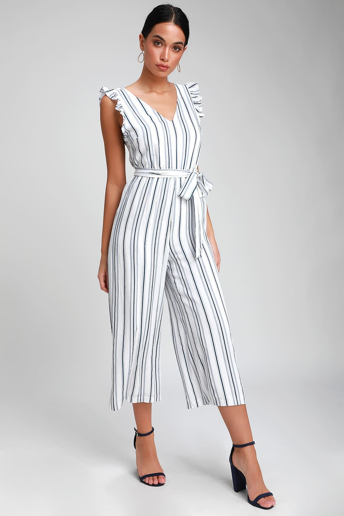 brand new super specials wholesale Cape Cod Cutie Navy Blue and White Striped Jumpsuit | Striped ...