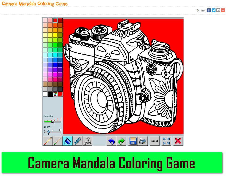 Good and funny play Camera Mandala Coloring Game Use the