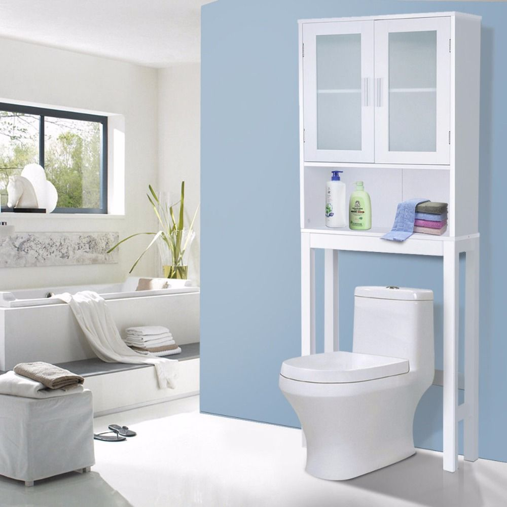 $64 Giantex Wooden Over Toilet High Storage Cabinet Spacesaver ...
