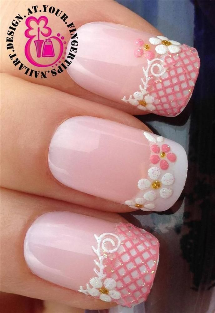 Pink white glitter nail art lace water flower tips stickers decal ...