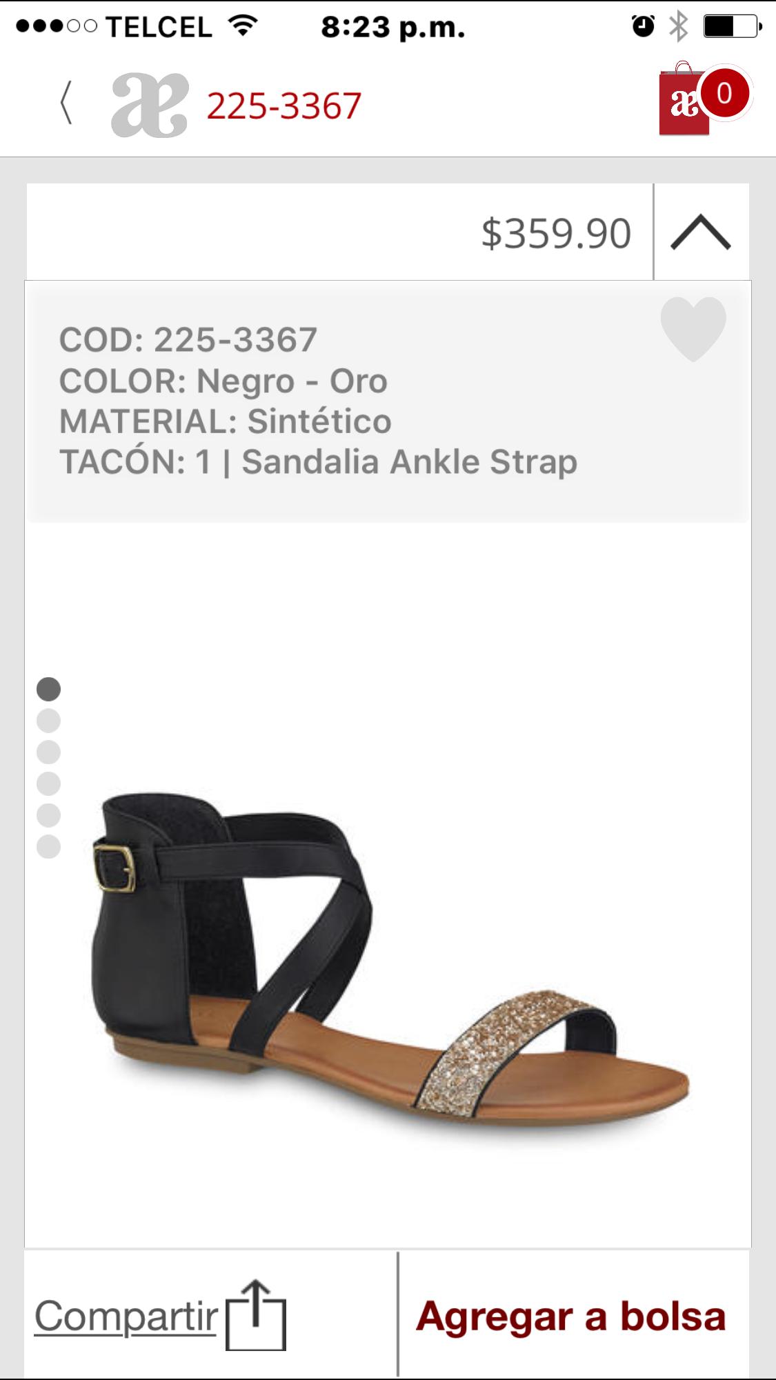 Sandalia con pulsera negra y tira diagonal diamantada Andrea 2017