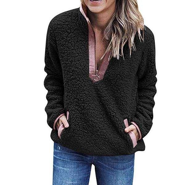 Women Stand Collar Zip Up Fluffy Top Sweatshirt Ladies