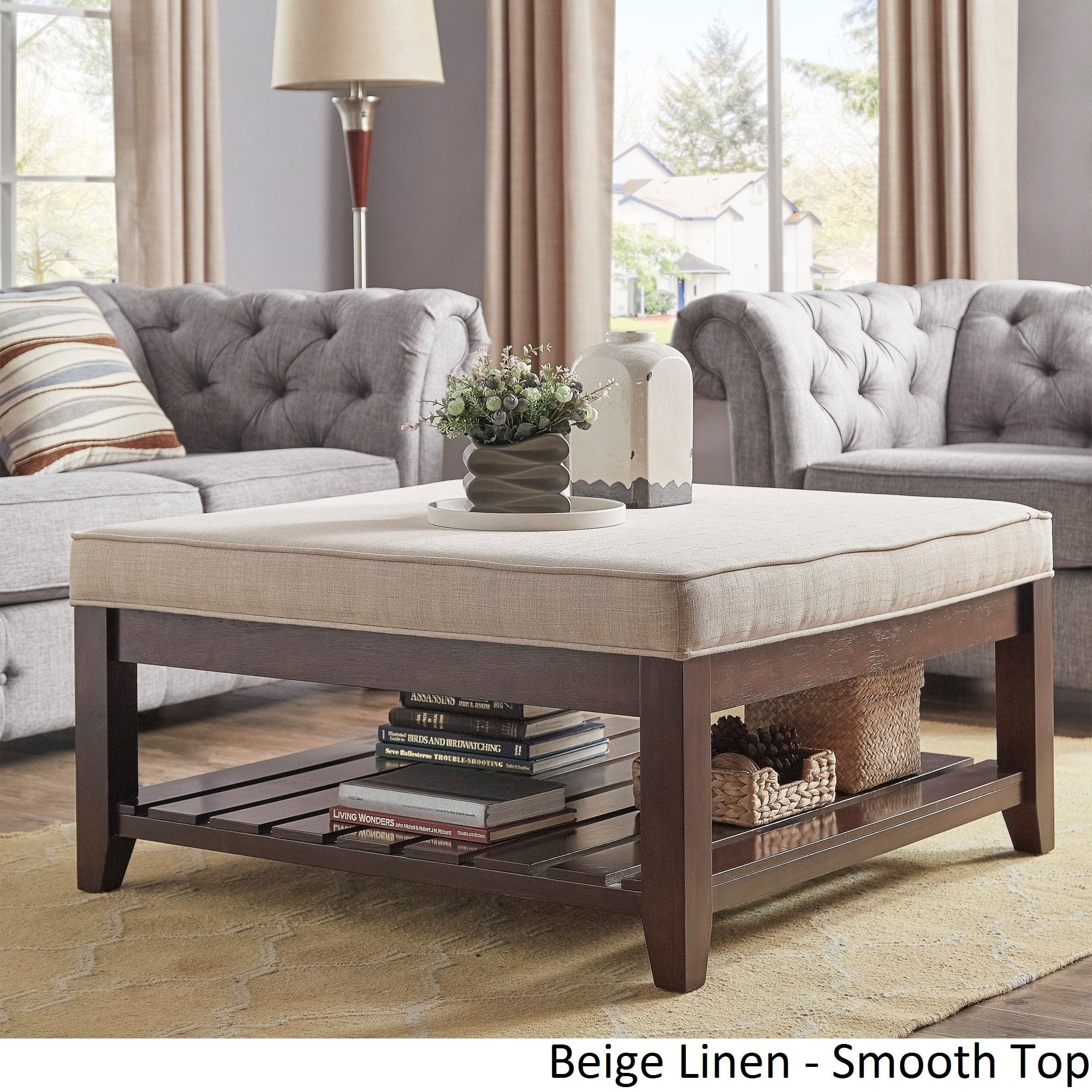 Lennon Espresso Planked Storage Ottoman Coffee Table by iNSPIRE Q Classic  by iNSPIRE Q