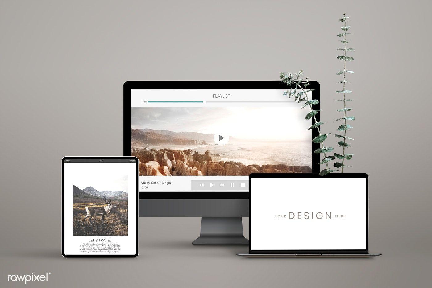 Download Premium Psd Of Digital Device Screen Mockups Design 935131 Mockup Design Design Mockup Free Computer Mockup