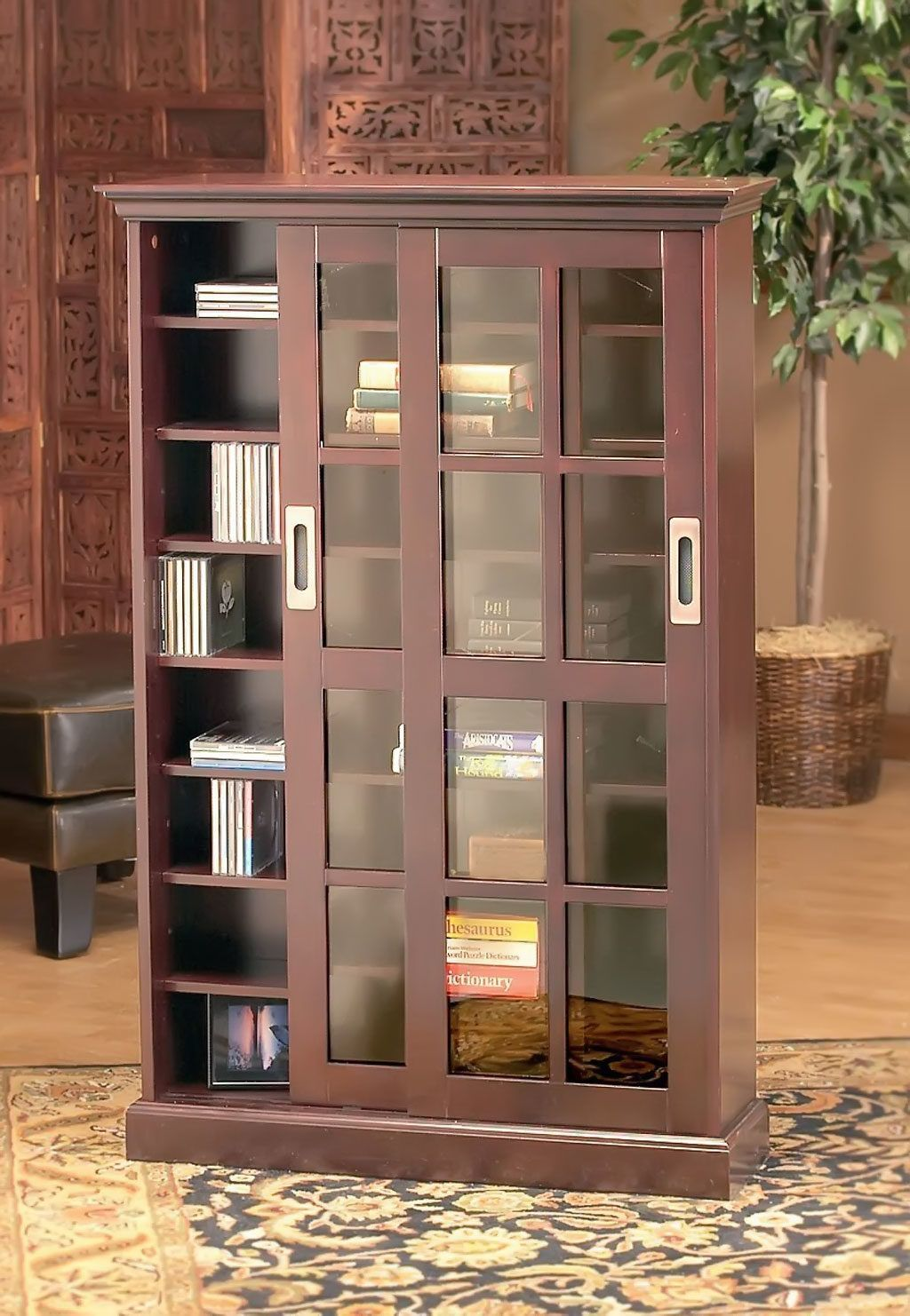 Brown Tall Wooden Bookcase With Sliding Glass Doors On Semi Classic