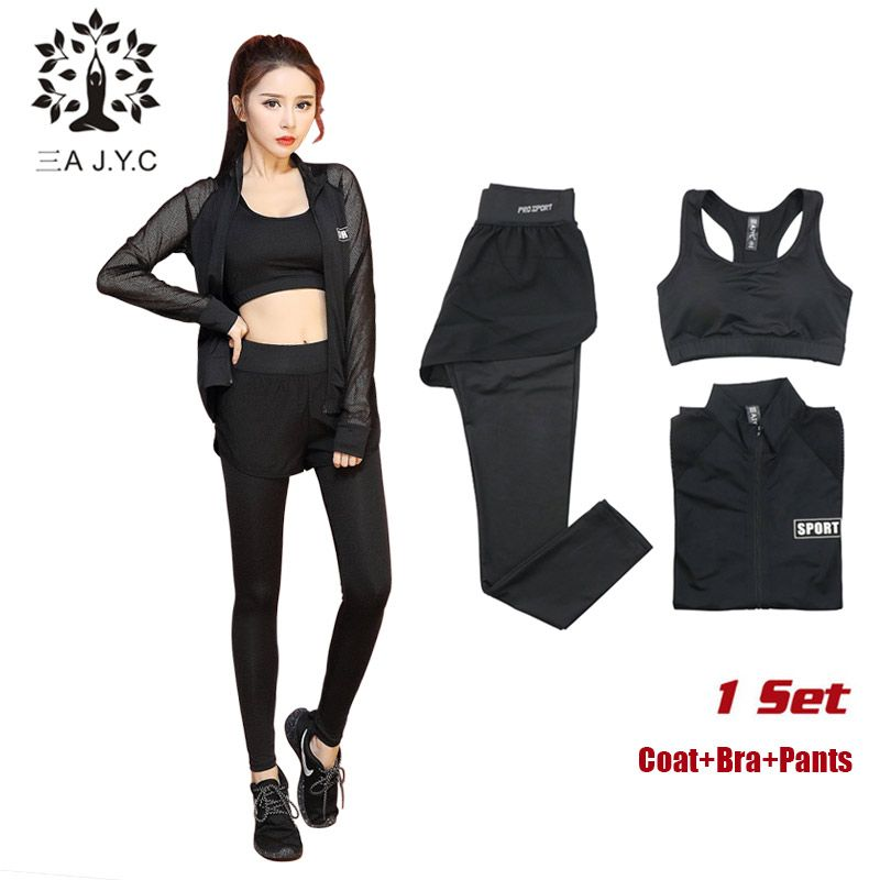 475a72e973564 Women Fitness 3Pcs Yoga Sets Coat+Bra+Pants Breathable Running Hooded Long  Sleeves T-shirts Slim Pants Sports Leggings Yoga Suit