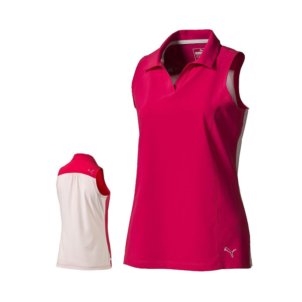 Puma Golf Women's Rose Red Woven Block Sleeveless Golf Polo