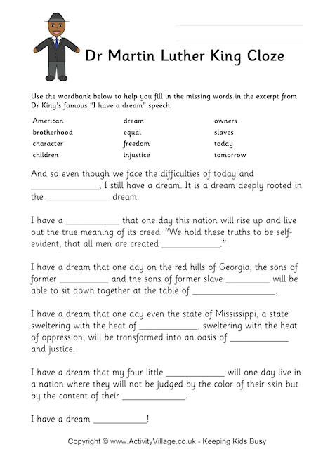 Mlk Cloze Activity Choose The Correct Words For The