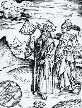 Gravura do XVI mostrando Ptolomeu sebdo guiado pela musa da Astronomia;  REISCH, Gregor; 1508