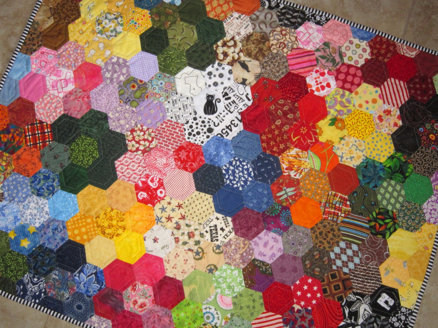 Modern Grandmas Flower Garden Quilt from Quilts by Elena English ... : garden quilts - Adamdwight.com