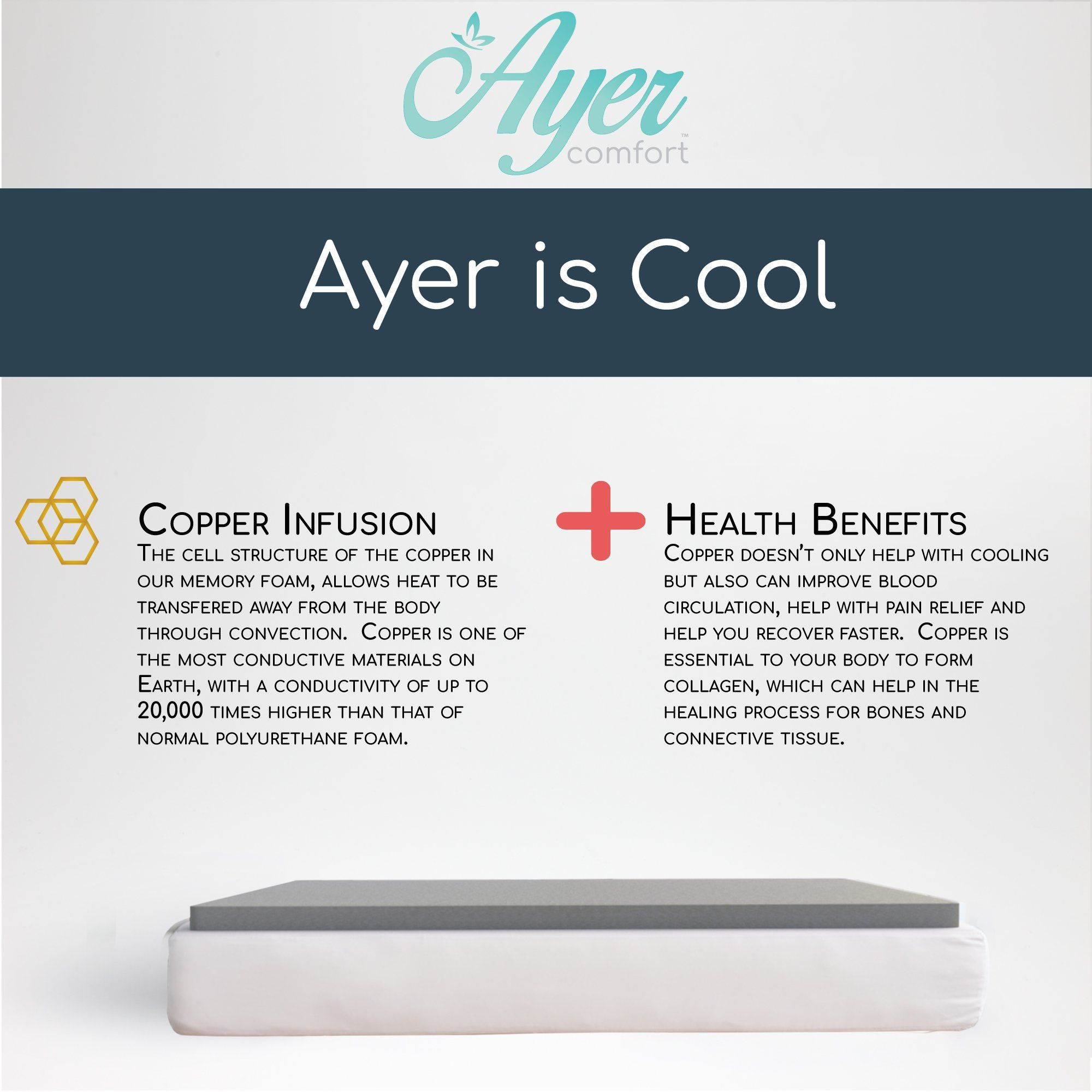 Ayer Comfort 3 Inch Copper Memory Foam Mattress Topper Antimicrobial Made In The Usa Queen Memory Foam Mattress Topper Memory Foam Mattress Mattress Topper