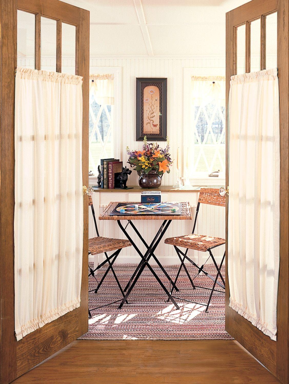 Striped Semi Sheer Rod Pocket Door Panel French Door Curtain Panels French Doors Interior French Door Window Treatments