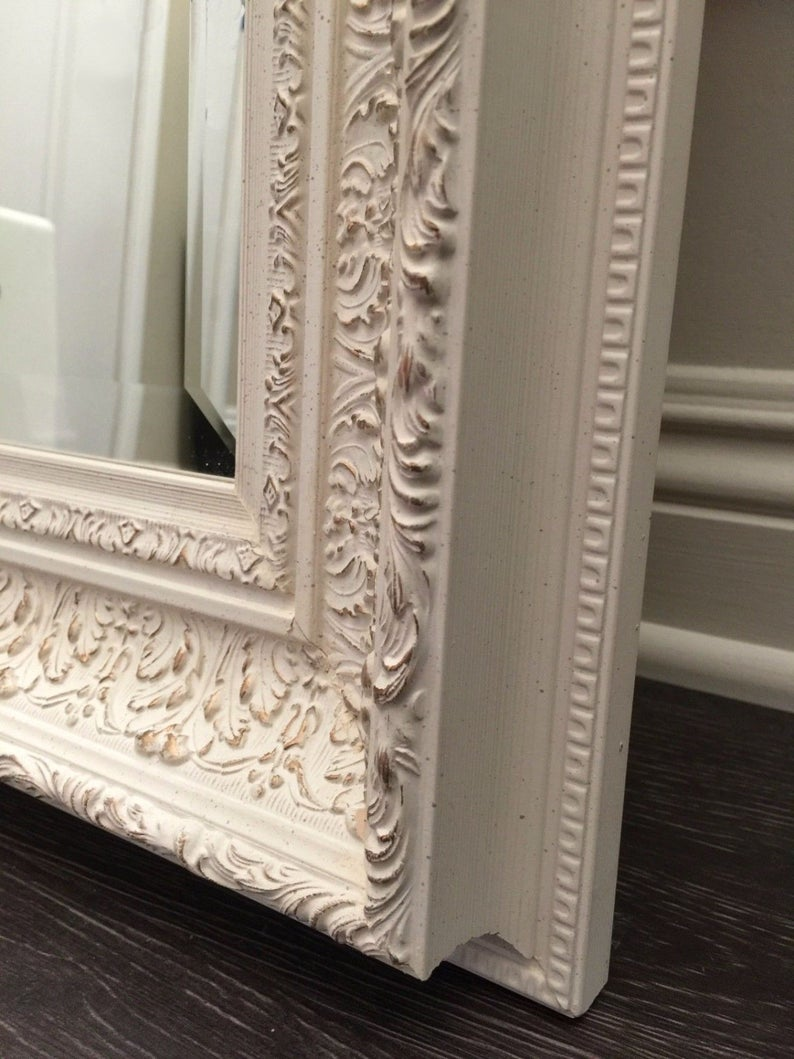West Frames Elegance Ornate Embossed Antique White Gold Framed Etsy Antique Mirror Frame Wood Wall Mirror Antique Mirror