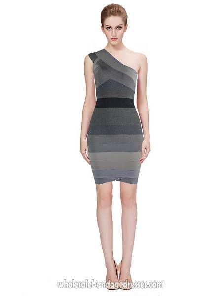 Cheap one shoulder Herve leger ombre grey wholesale from China bandage dresses wholesale shop. Made of Rayon. cheap price, fast shipping.