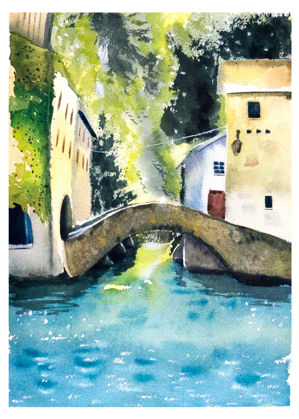 Italian Landscape Watercolor Lake Como Painting Art Vertical Print