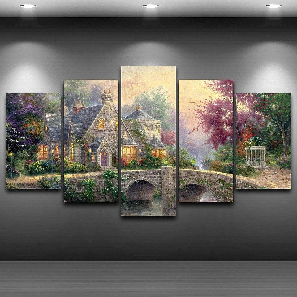 5 Panels Lamplight Manor Thomas Kinkade Framed Poster Print Canvas Art Multi Piece Customized Canvas Art Wall Art Pictures Landscape Wall Art