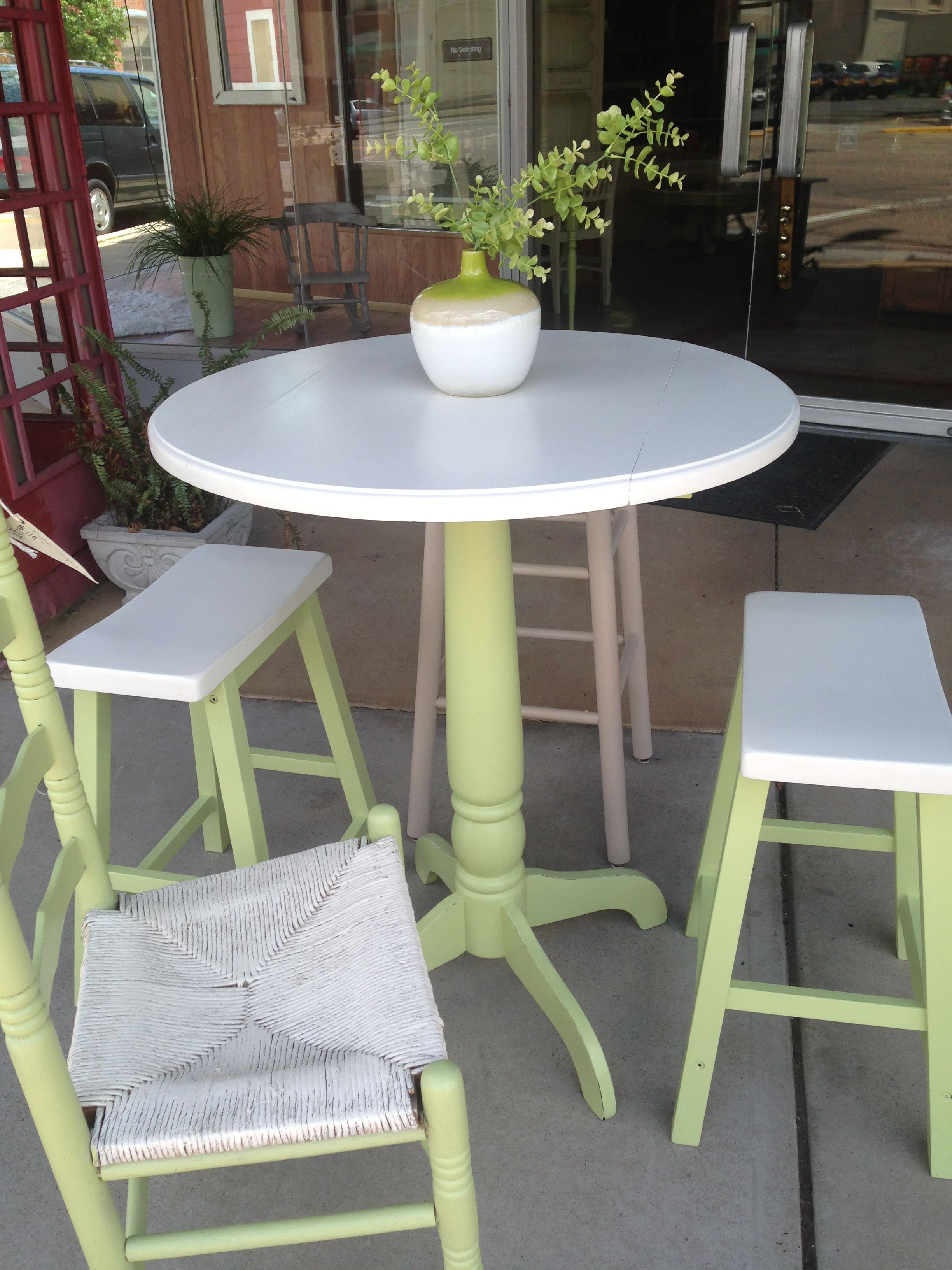 bistro table and stools painted in apple green chalk paint drift rh pinterest com