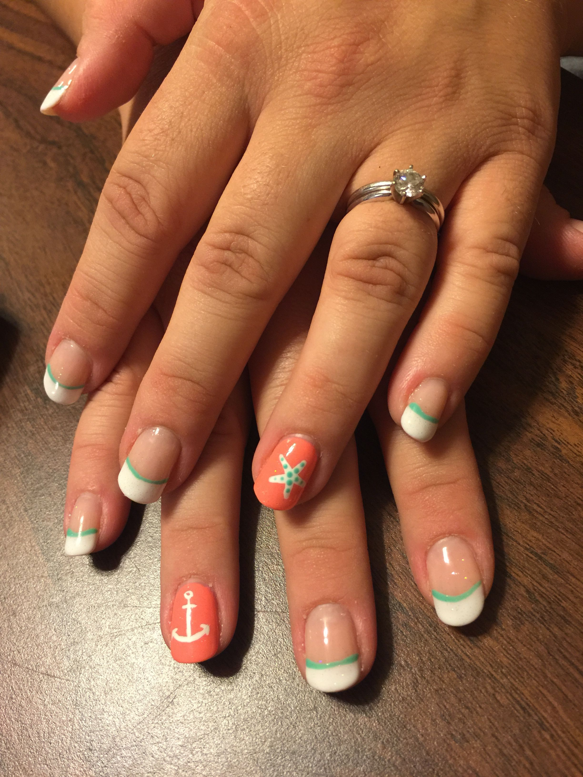 Gel Nails Beach Nails Coral Mint French Manicure Anchor