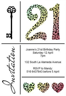 Leopard 21st Printable Invitation Template Customize Add Text And Photos