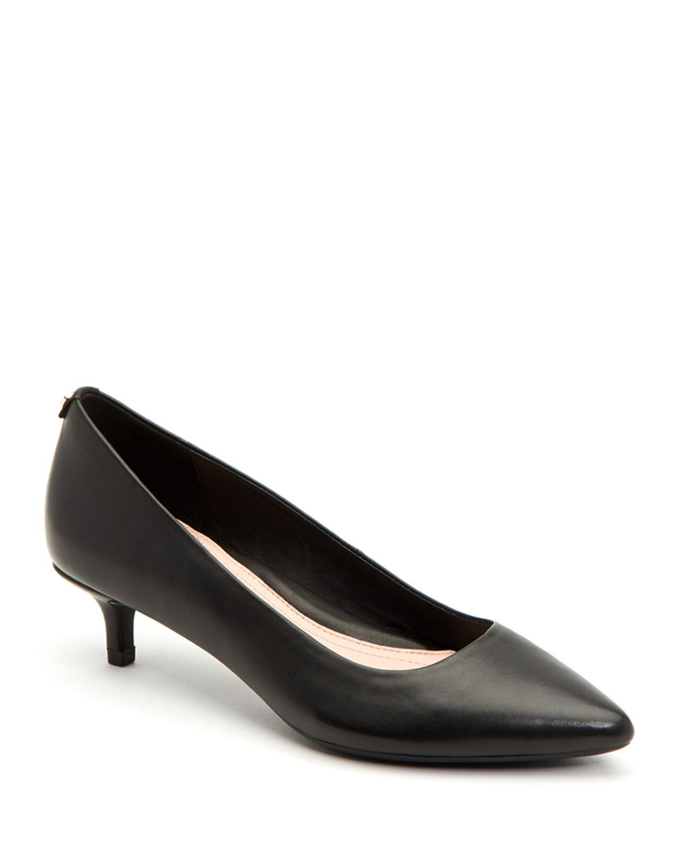 Taryn Rose Naomi Weatherproof Pump In Black Leather Modesens Kitten Heel Pumps Kitten Heels Pumps Heels