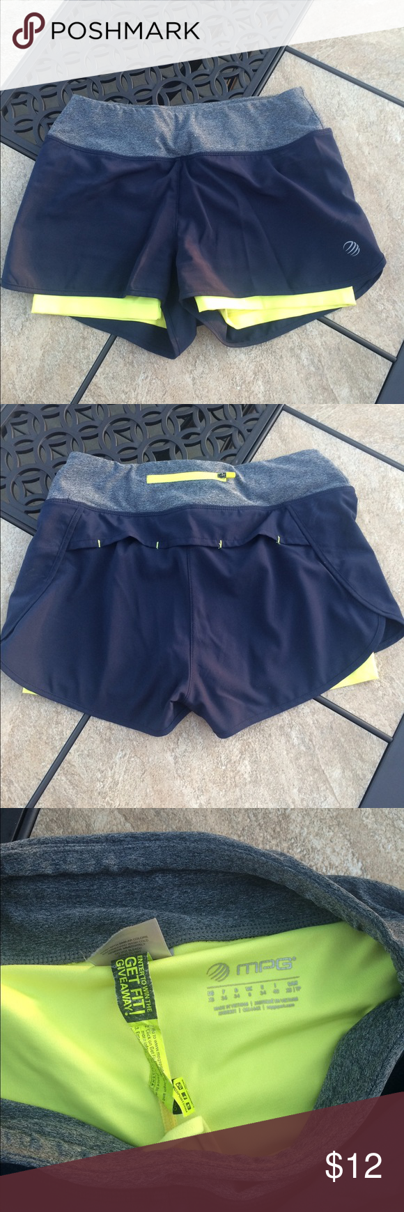 MPG Blue and Yellow Gym Shorts Size XS MPG Blue and Yellow Gym ...