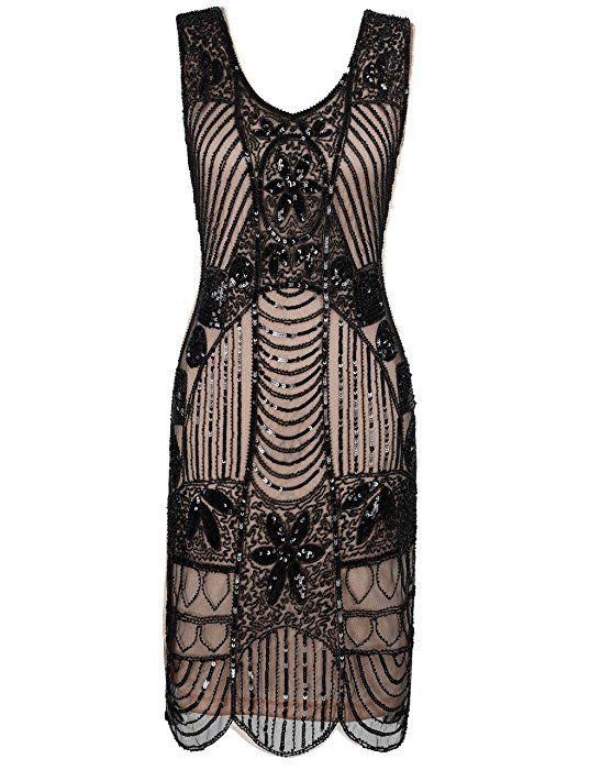 d0b5384926c Kayamiya Damen Retro 1920er Perlen Pailletten Blatt Art Deco Gatsby Flapper  Kleid M Schwarz Beige