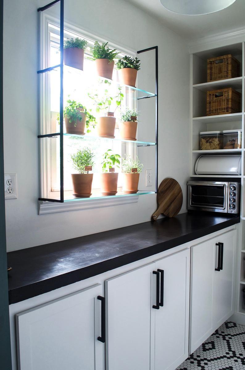 Pair Of Steel Shelf Brackets For A Window Garden Or Bathroom Etsy Kitchen Remodel Modern Kitchen Small Kitchen