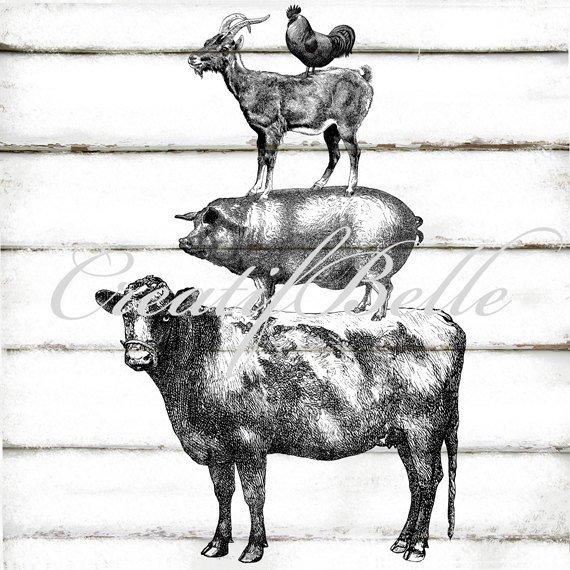 Vintage Farm Animal Stack Large Instant Digital Download Etsy Farm Prints Vintage Farm Animal Pillows