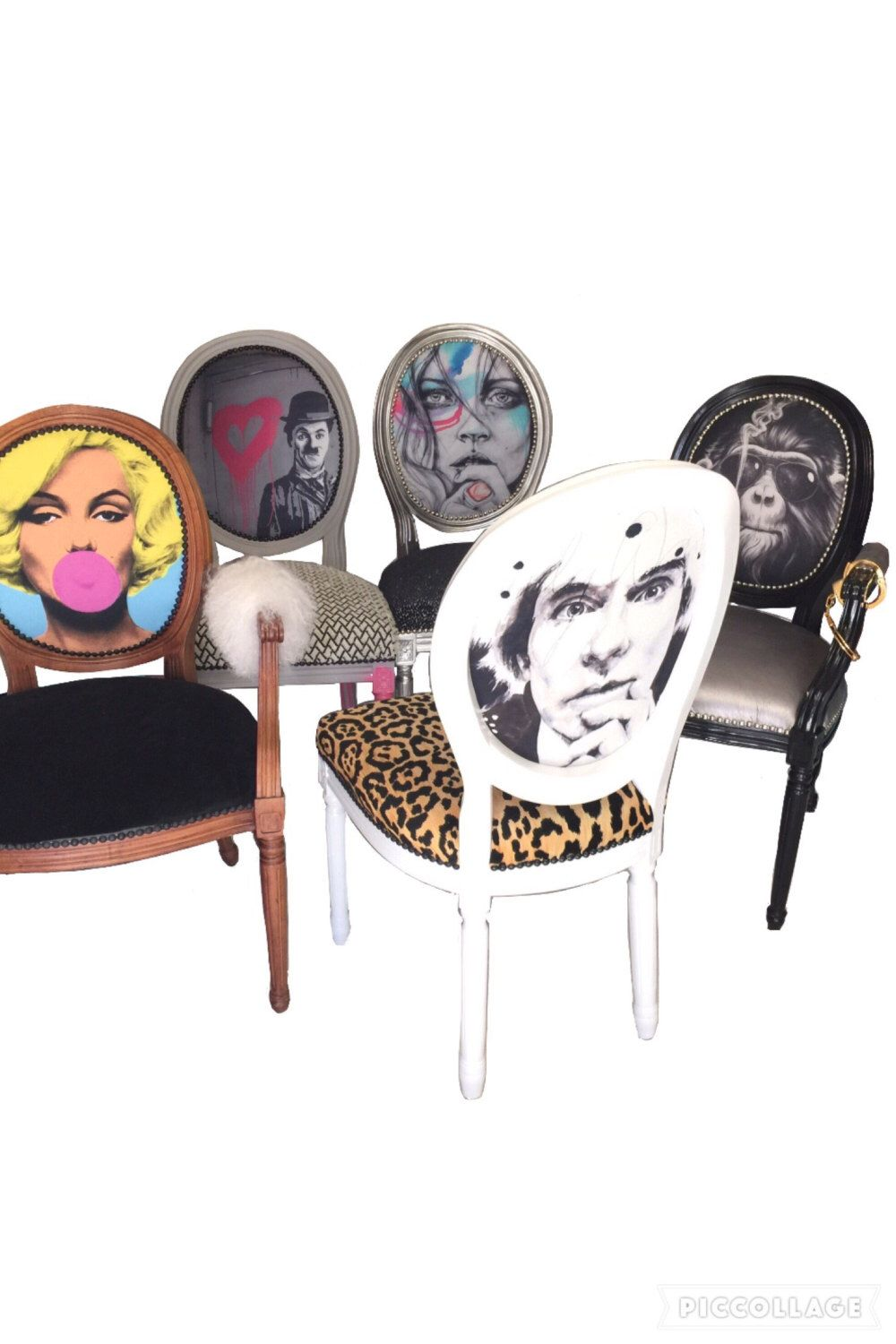 Marilyn monroe french chair - Dining Room Set Of French Armchairs And Side Chairs Eclectic Custom Upholstered Marilyn Monroe Andy