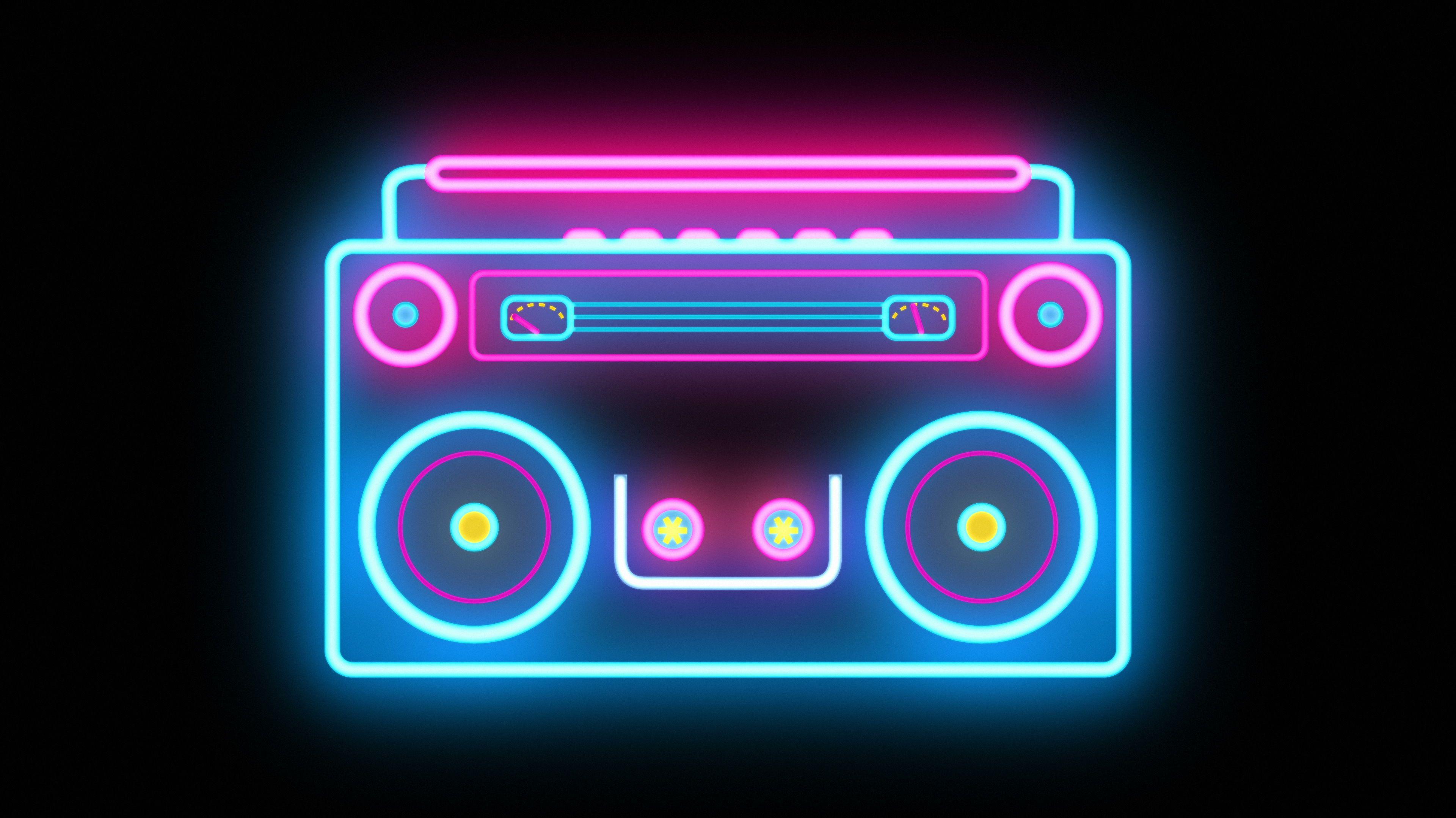 Abstract Neon Retro Boombox Music Tape Recorder Radio Boombox Neon Radio