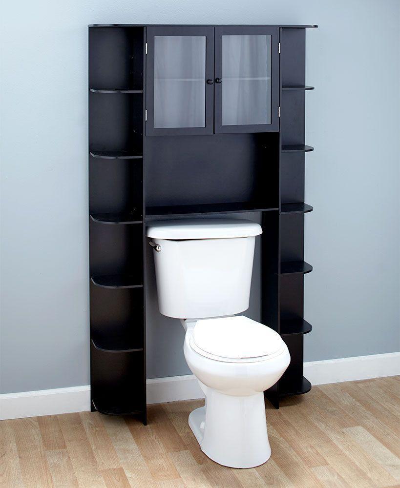 Over The Toilet Cabinet 15 Shelves Shelf Black Wood Bathroom Space
