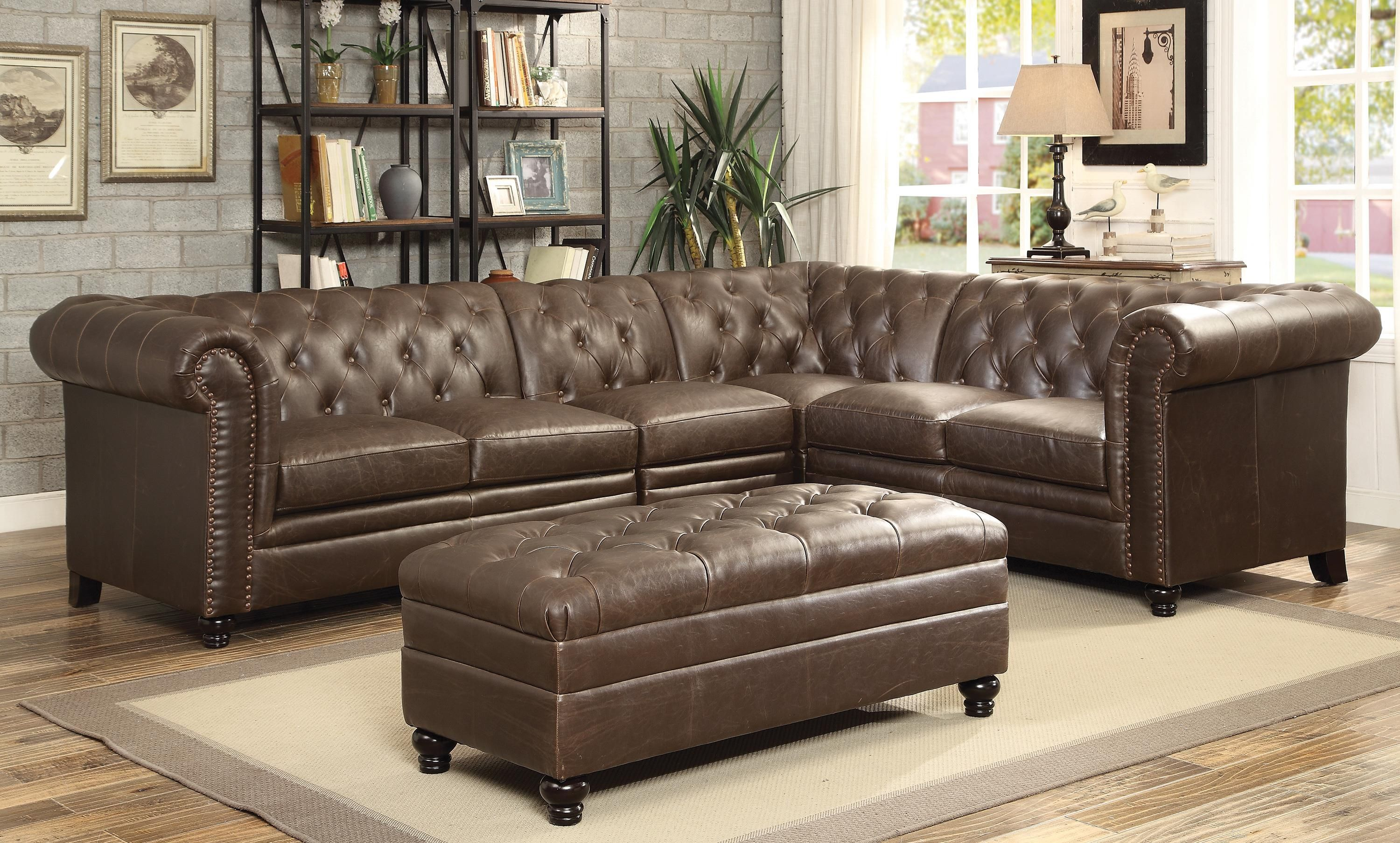 Tufted Leather Sectional Couch
