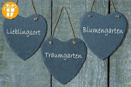 Schwarzes Schieferschild Herz Gartenschild Schild mit Spruch 19cm (Lieblingsort) - Shirts mit spruch (*Partner-Link)