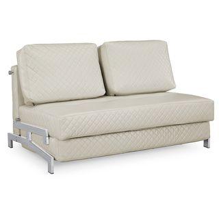 Serta St Martin Ivory Bonded Leather Convertible Sleeper Sofa