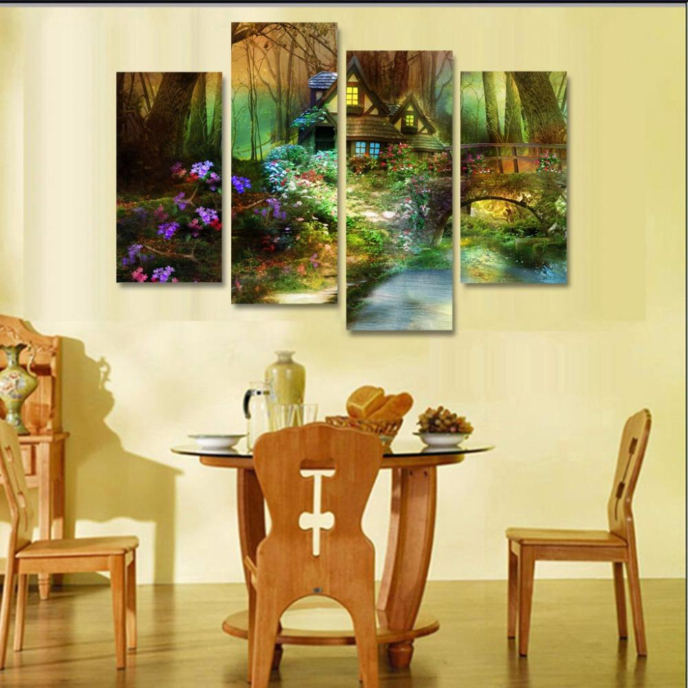 Printed dnature flowers forest trees house bridge Painting on canvas ...