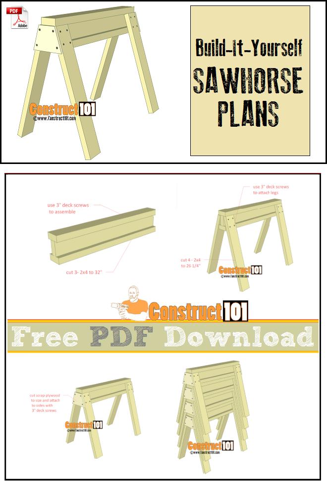 Sawhorse Plans Pdf Download Construct101 Pinterest Sawhorse