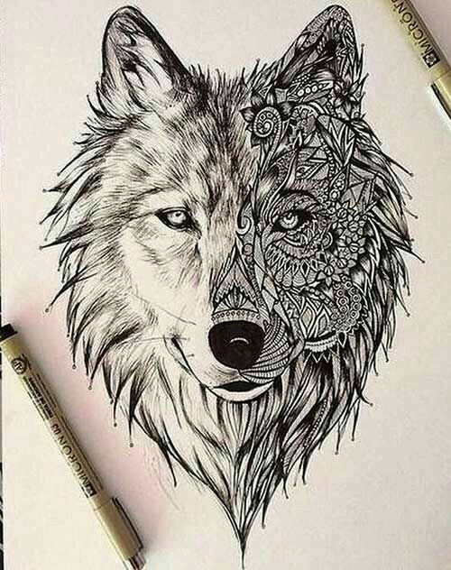 There S A Lot Of Dimension To This You Can See That One Side Can Be Flipped To See The Other Side Who Ever Geometrischer Wolf Tattoo Wolf Zeichnung Zeichnung