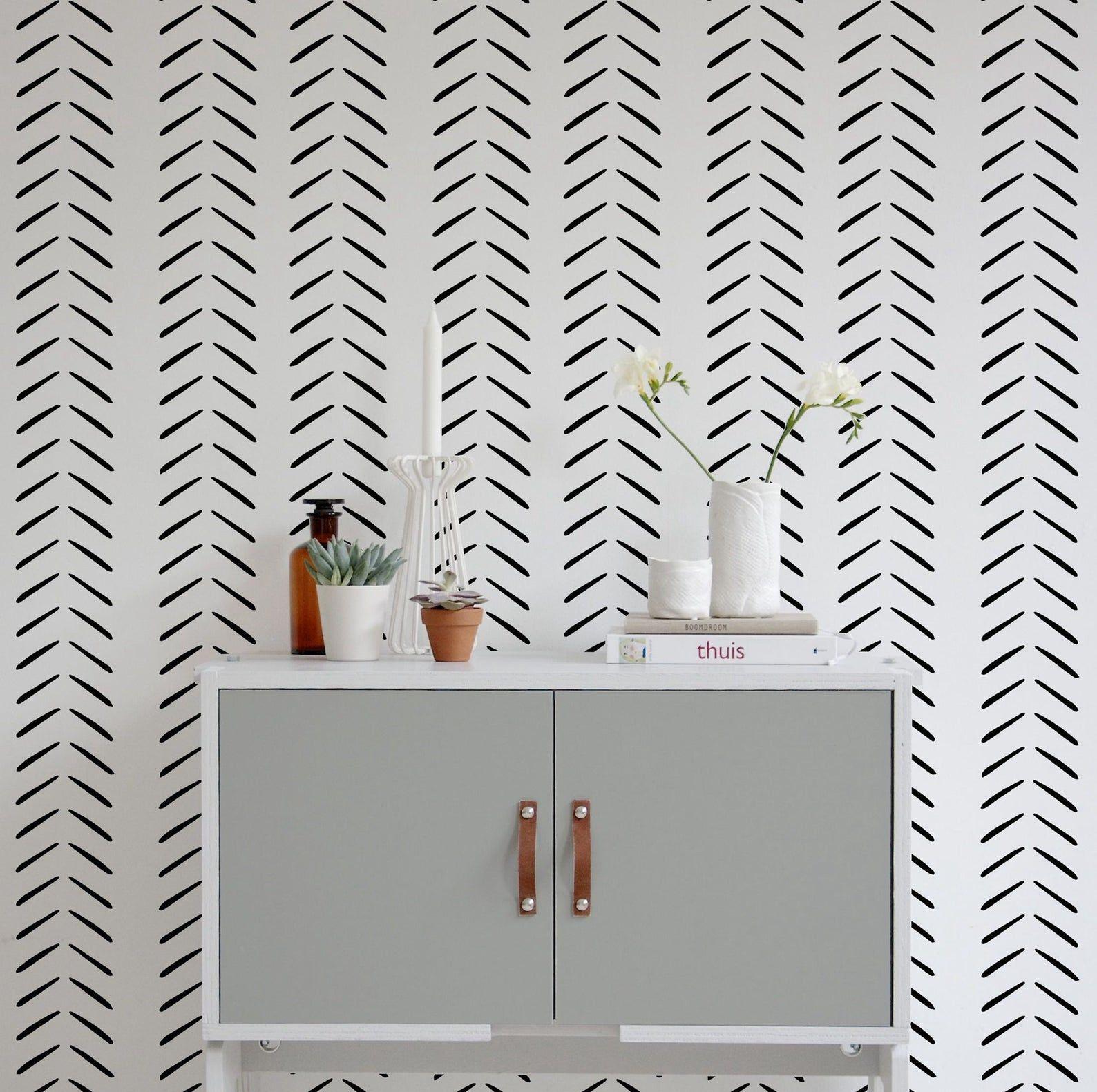 Modern Delicate Giant Herringbone Wallpaper In Black And Etsy In 2021 Herringbone Wallpaper Striped Walls Horizontal Peel And Stick Wallpaper