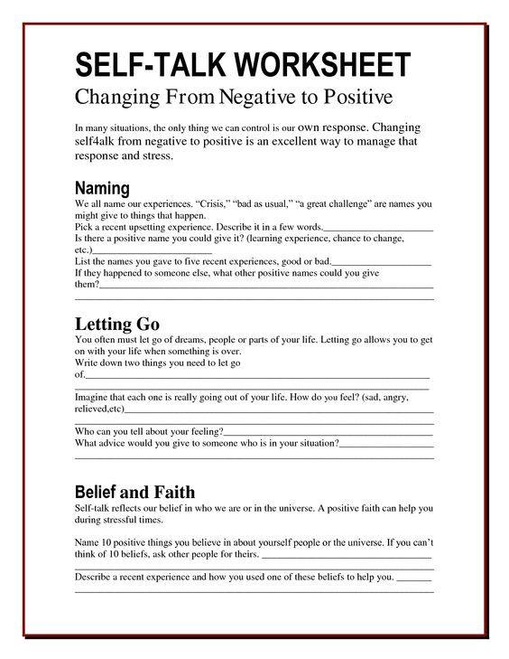 Self talk worksheets - Changing Negatives into positives ...