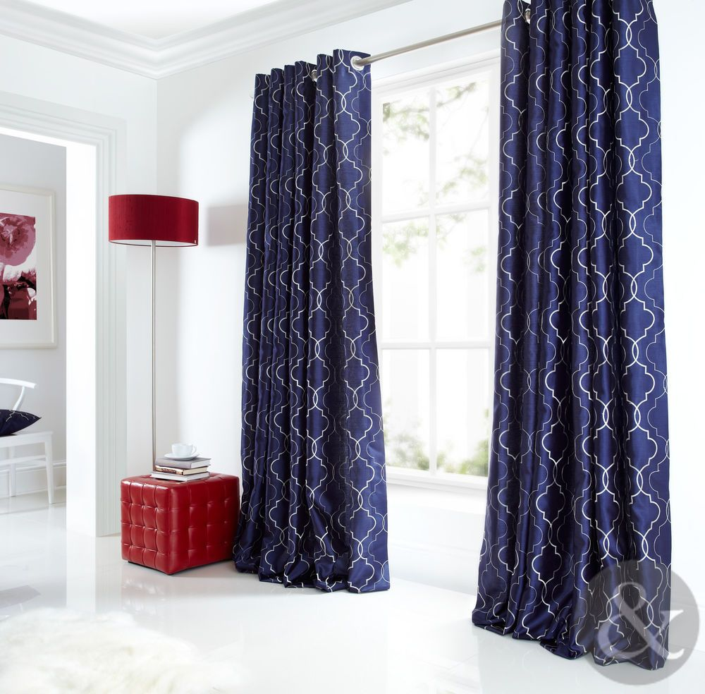 Sicily Curtains Luxury Faux Silk Navy Blue Silver Embroidered Eyelet Curtain