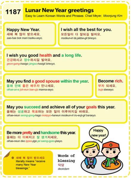Easy To Learn Korean 1187 Popular Lunar New Year Greetings Korean Words Learning Korean Words Learn Korean