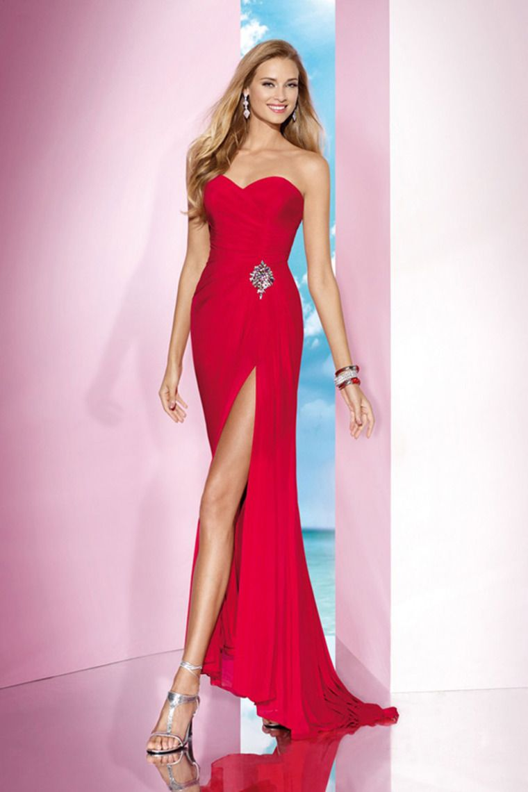 2014 Delicate Sweetheart Sheath/Column Chiffon Prom Dress Ruffled ...