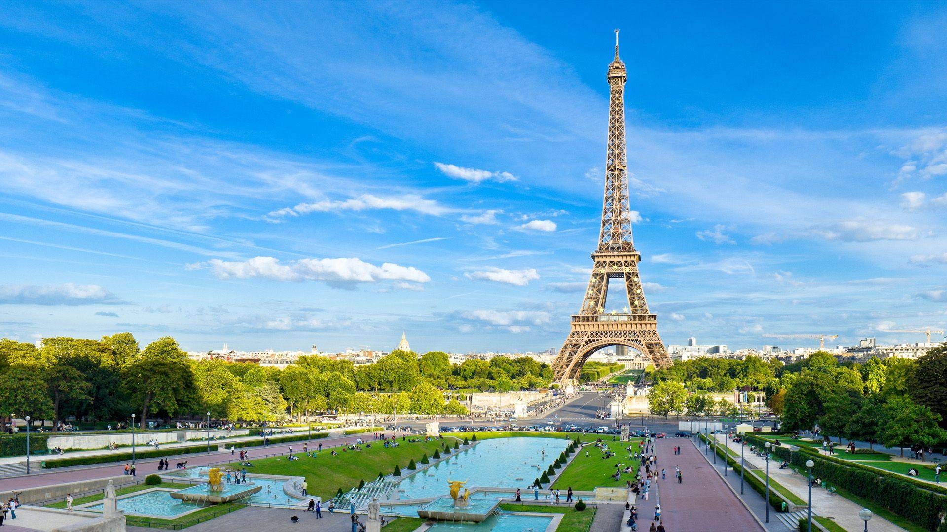 1920x1080 Wallpaper Paris France Eiffel Tower Sky Blue