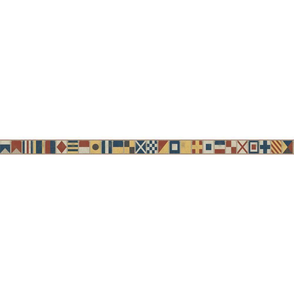 Nautical Living Sailing Flags Wallpaper Border, Ivory/Beige/White/Marine Blue/Red/Yellow